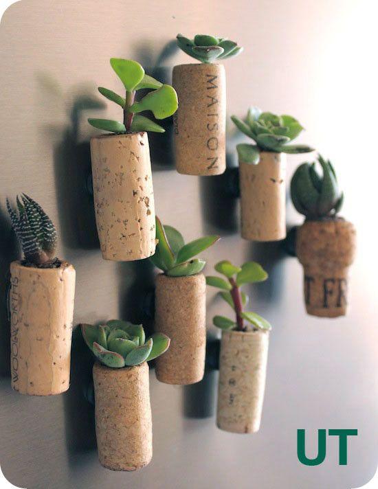 Магнитики с миниатюрными растениями из винных пробок