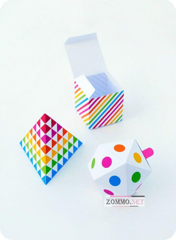 Геометрически подарочные коробочки из бумаги своими руками