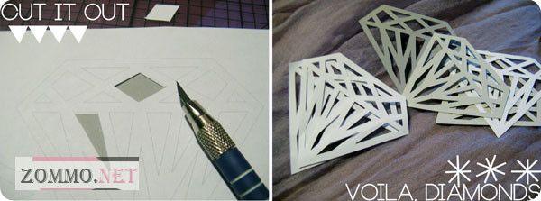 Вырезаем бумажные алмазы