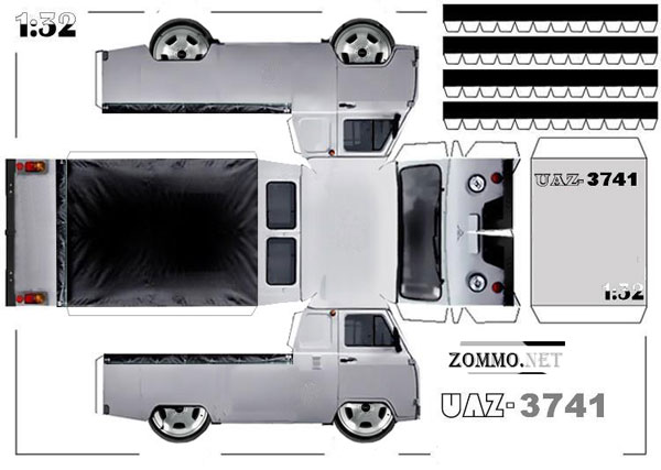 Машина УАЗ 3741 из бумаги