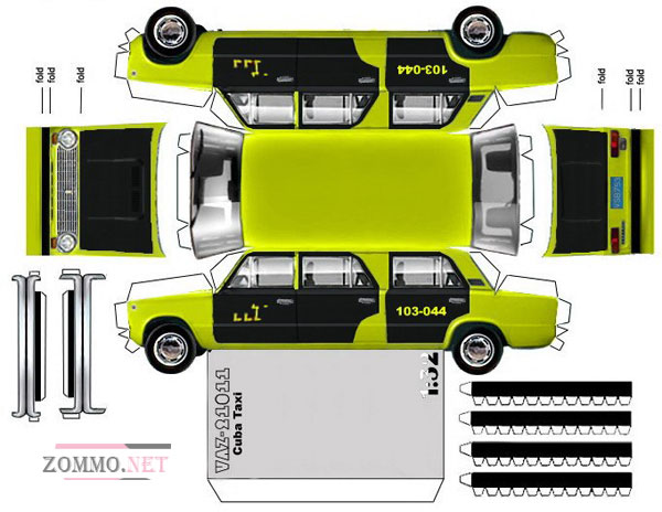 Бумажная машина ВАЗ 21011 Cuba Taxi