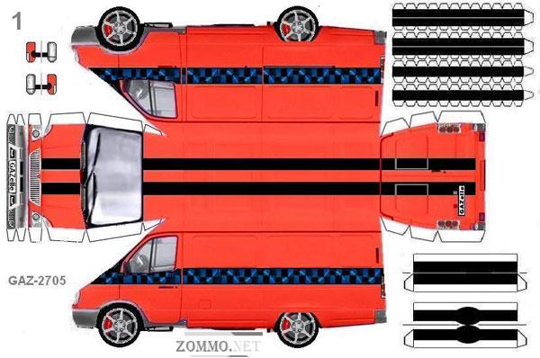 Машина ГАЗ 2705 из бумаги