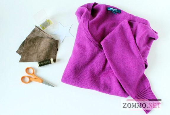 Инструменты и материалы для латок на свитер