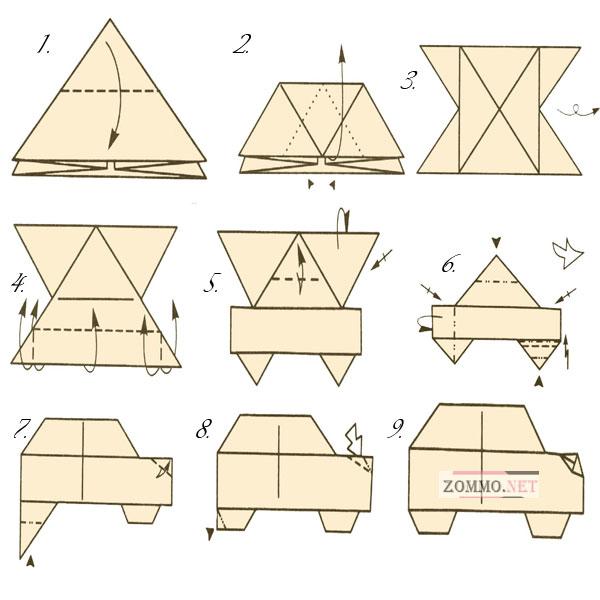 Автомобиль из бумаги оригами