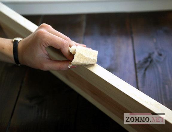 Шлифуем и красим деревянную полку