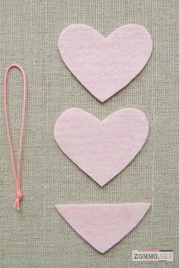 Как сделать объемное сердечко из фетра