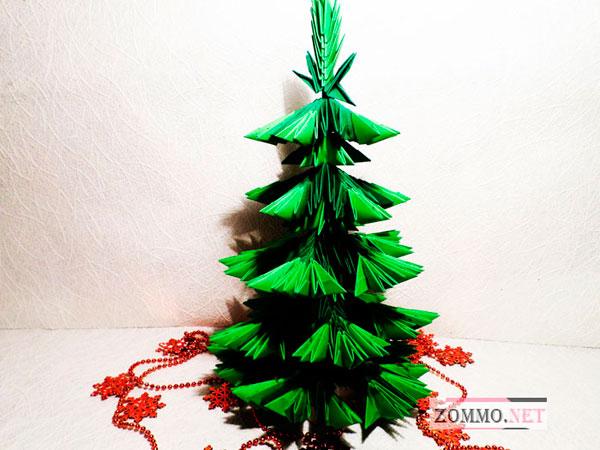 Оригами елка из треугольных модулей своими руками