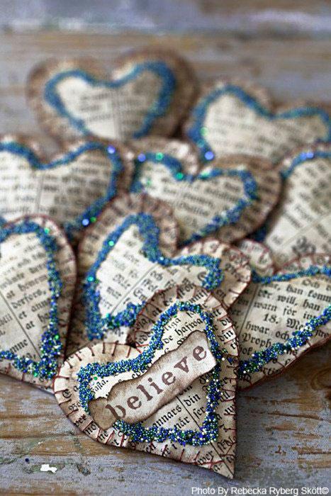 Бумажные сердца со сладостями