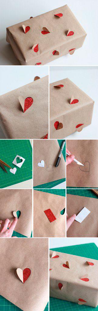 Упаковочная бумага с сердечками