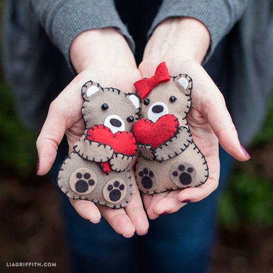 Мишки из фетра на день святого валентина