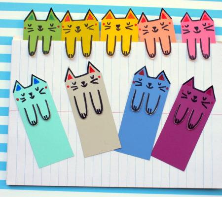 Закладки для учебников в виде котиков