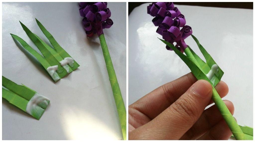 Гиацинты из бумаги-приклеиваем листья