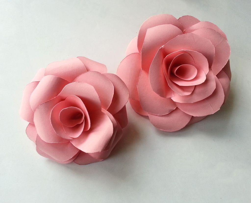 Камелии из бумаги розовые