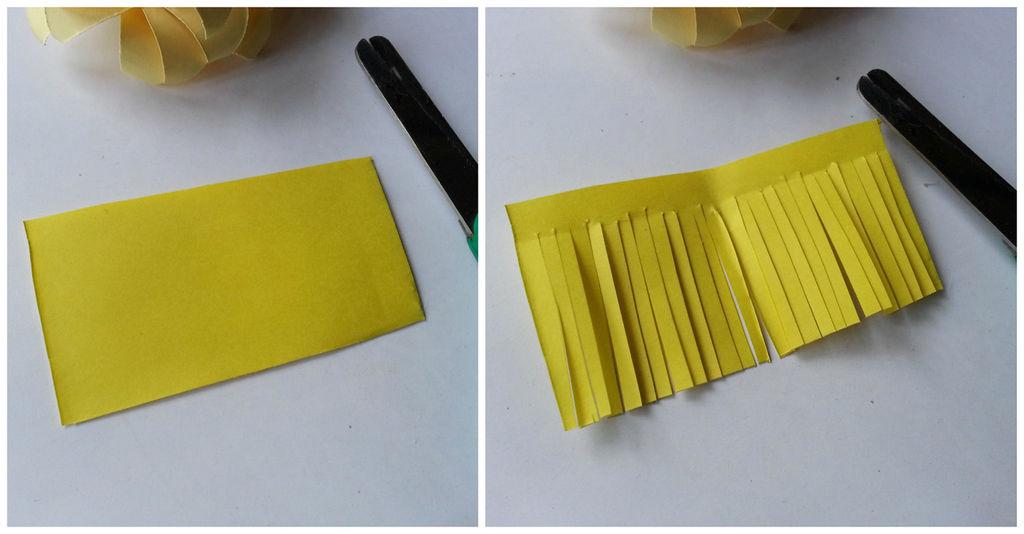 Камелии из бумаги-вырезаем бахрому