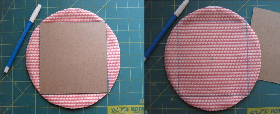 Коврик из лоскутков-прикладываем квадрат, обводим карандашом