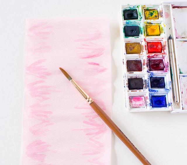 Магнолии из бумаги-красим розовый креп
