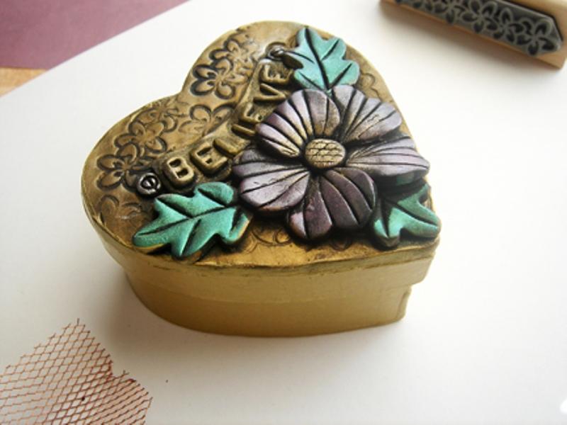 Шкатулка из полимерной глины в виде сердца своими руками