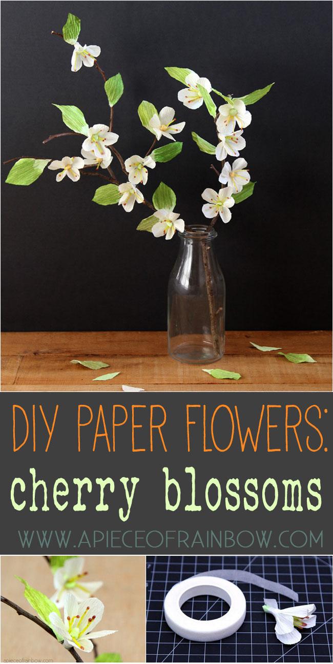Цветки вишни из гофрированной бумаги