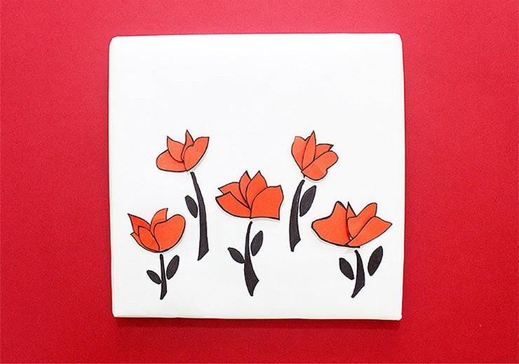 Упаковка подарков в японском стиле-рисуем стебли и листья