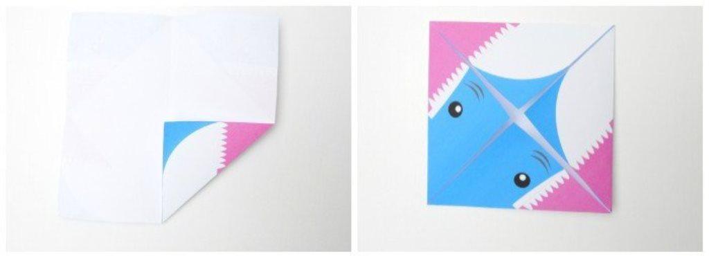 Акула оригами-заверните углы к центру
