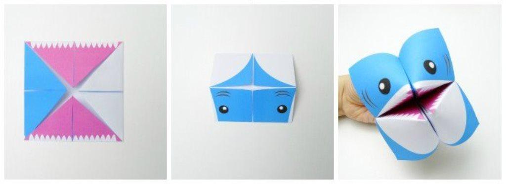Акула оригами-разверните поделку