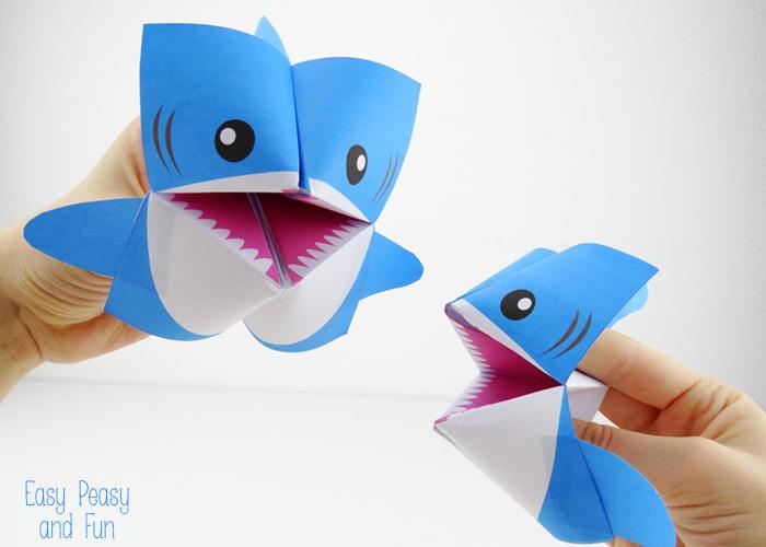 Акула оригами-игры с поделкой