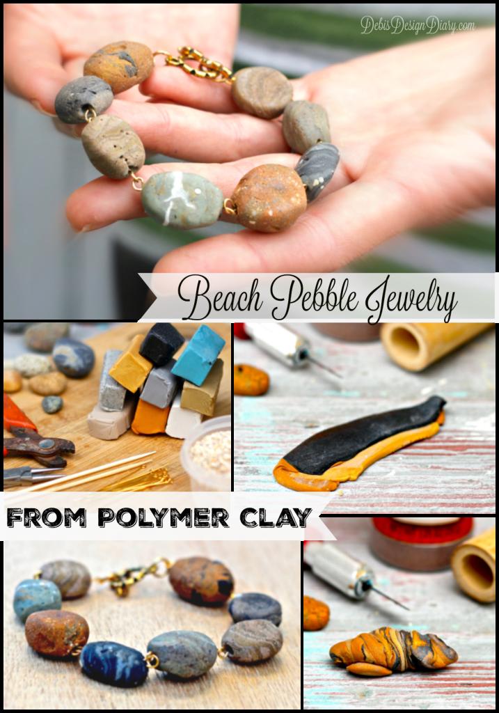 Бусины в виде камней из полимерной глины