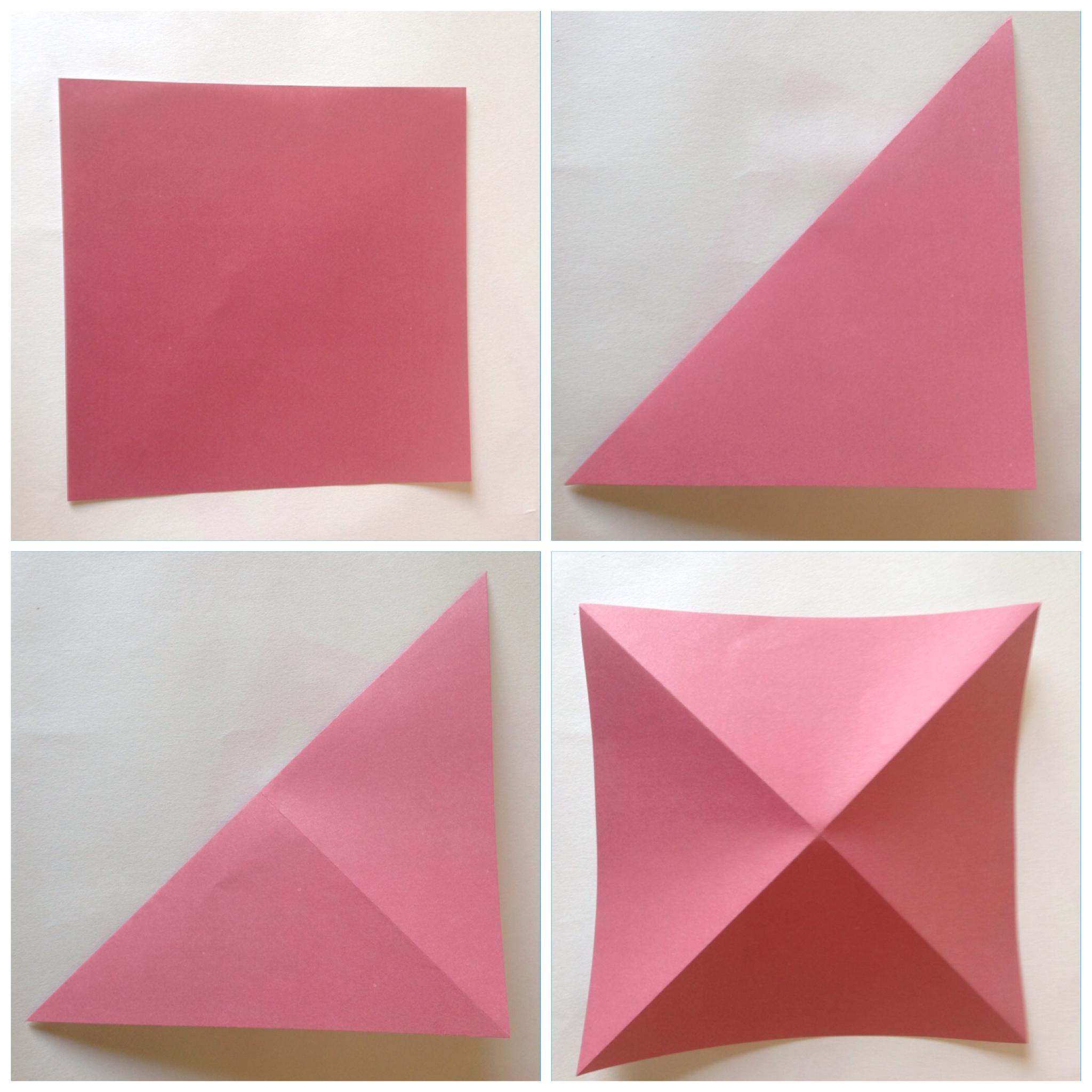 Мобиль оригами-загните бумагу по диагонали