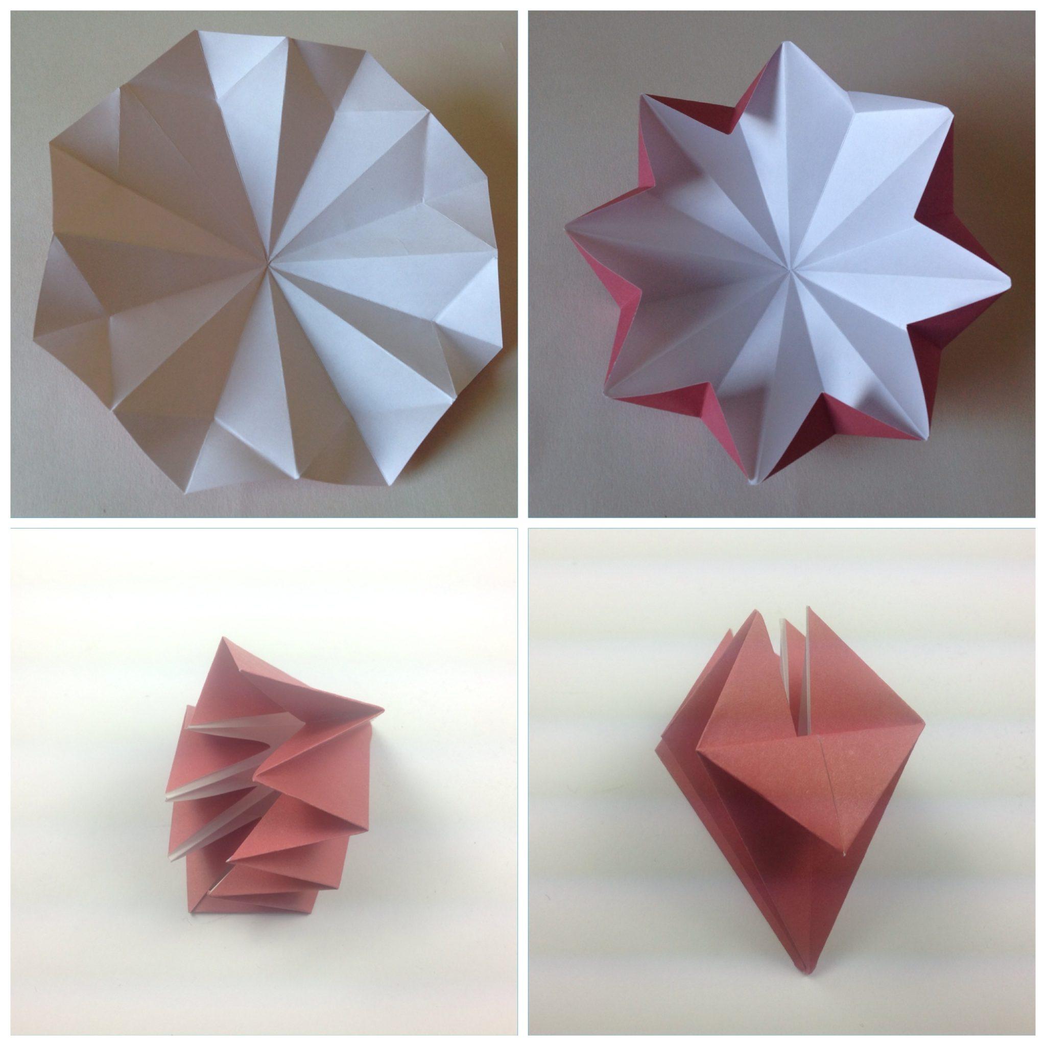 Мобиль оригами-сложите бумагу в елочку и загните нижнюю часть вверх