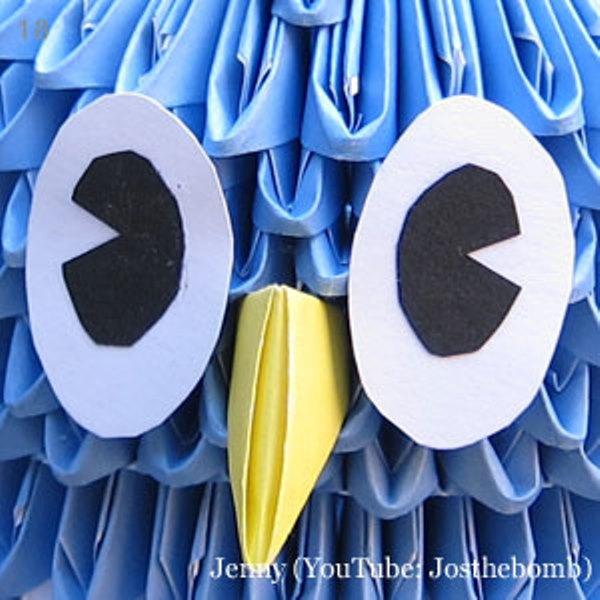 Оригами сова-приклейте глаза