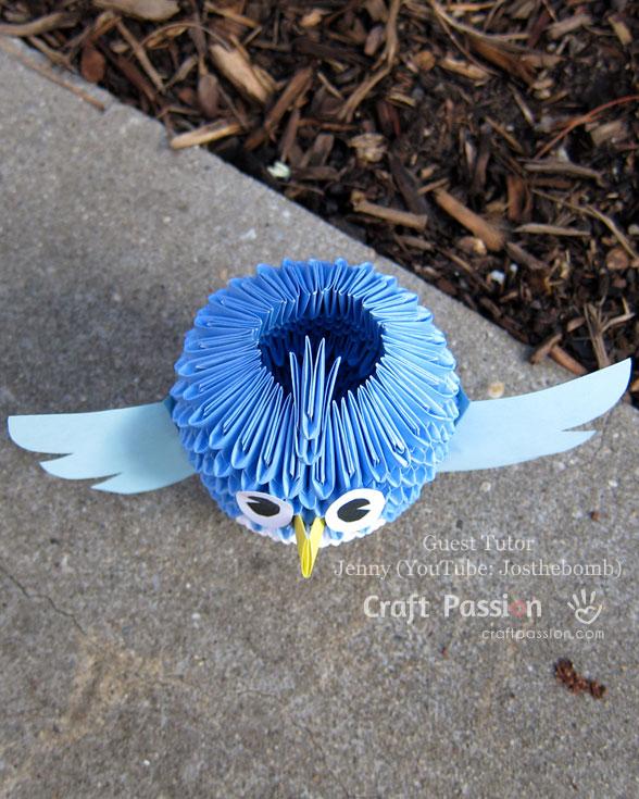 Оригами сова-вид сверху
