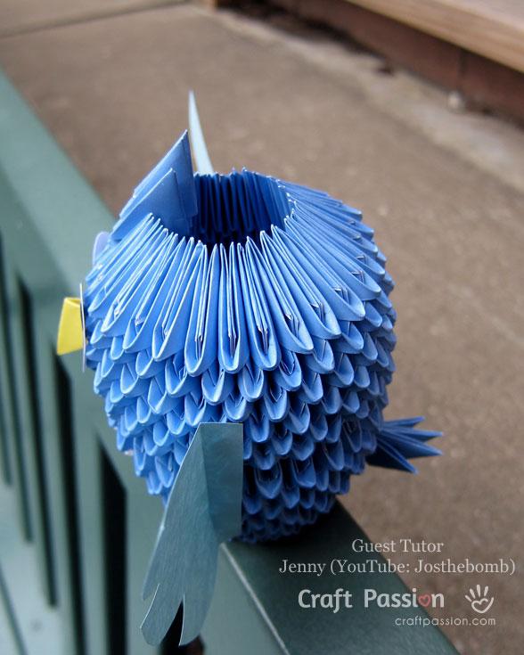 Оригами сова-вид сбоку