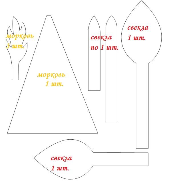 Овощи из фетра: выкройка
