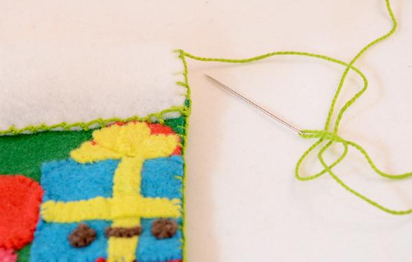 Носок из фетра-обшейте манжет петельным швом