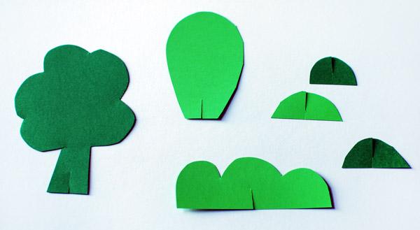 Домик оригами-сделайте деревья
