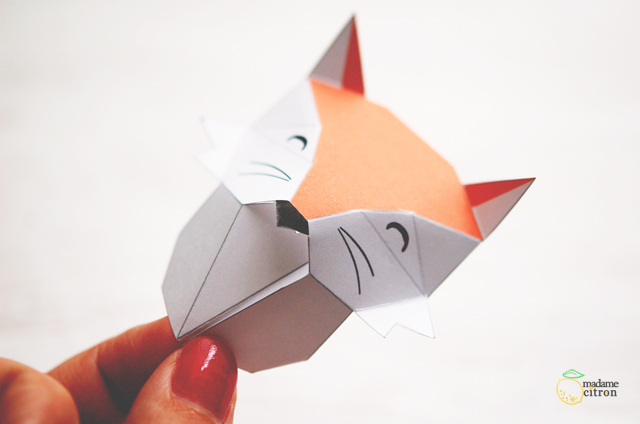 Картины из бумаги-согните по линиям морду лисы