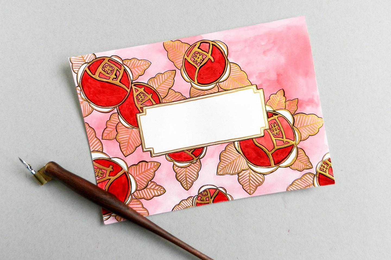 Красивый конверт из бумаги-разрисуйте контуры