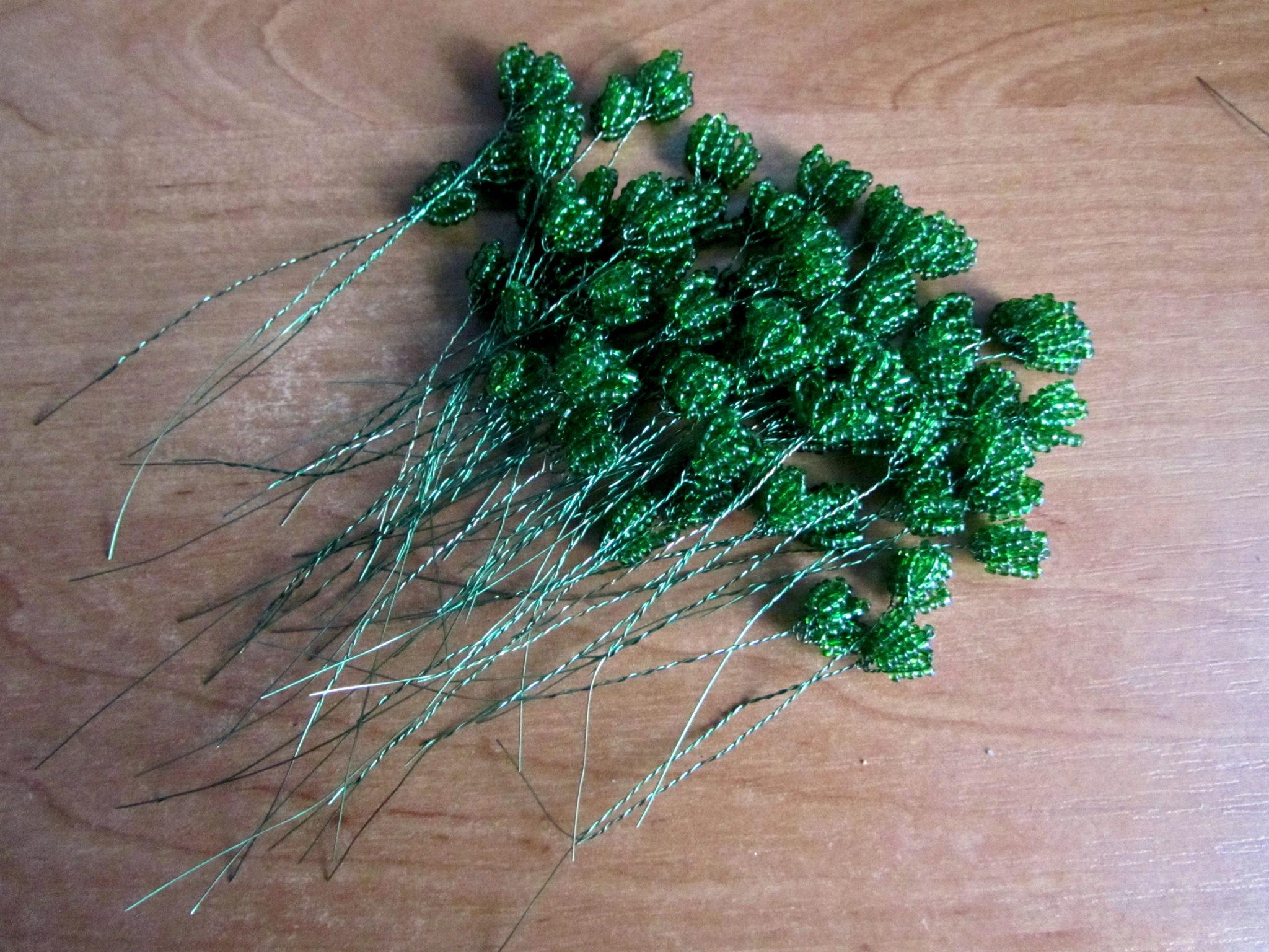 Бонсай из бисера - формируем листья