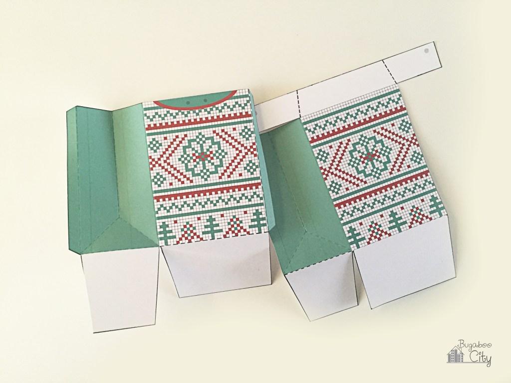 Новогодняя подарочная упаковка-согнните по всем пунктирным линиям