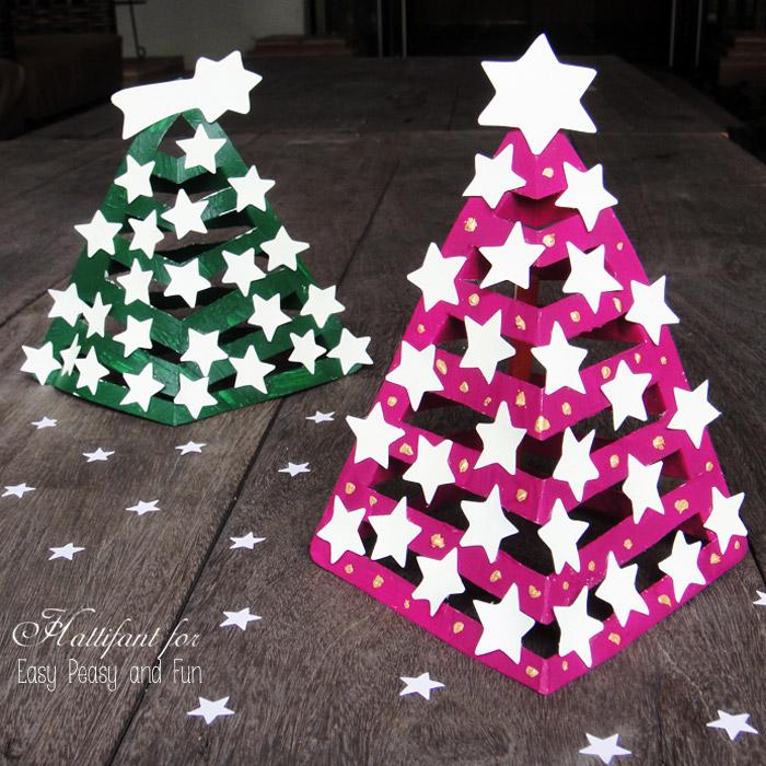 Объемная елка из бумаги со звездочками