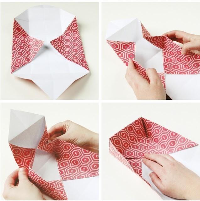 Оригами коробочка для подарка-загните клапаны