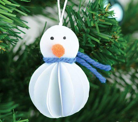 Новогодняя игрушка снеговик из бумаги своими руками