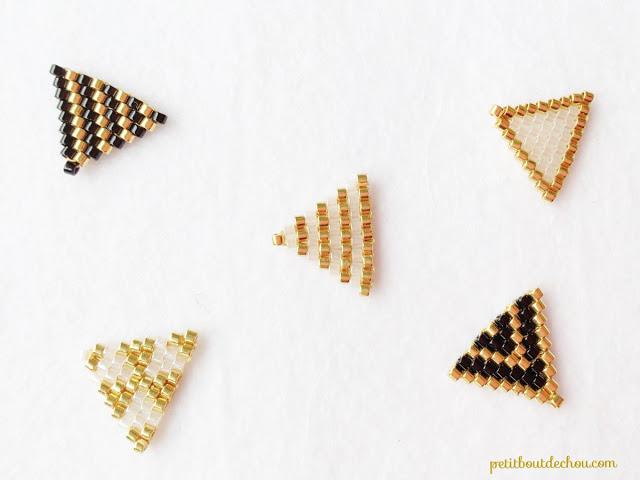 Простое колье из бисера-сплетите 12 треугольников