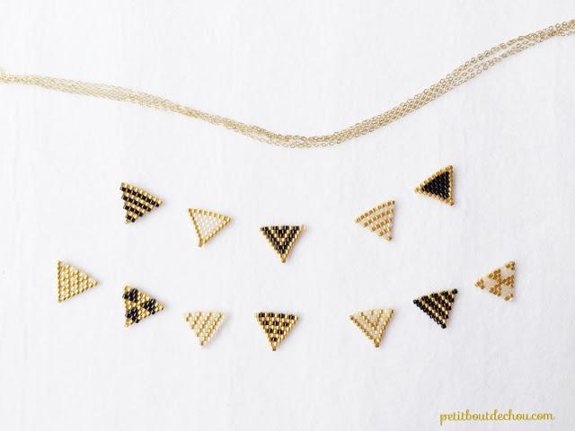 Простое колье из бисера-разделите треугольники