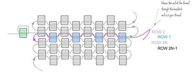 Круглый кулон из бисера-схема 2 для закрытия кулона