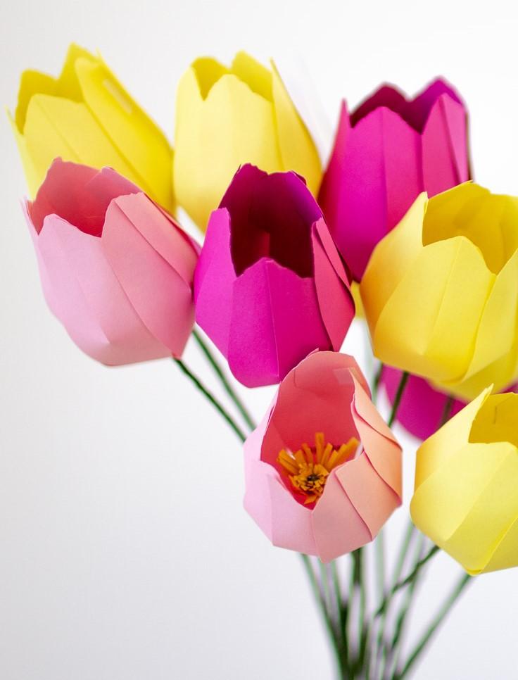Тюльпаны из бумаги своими руками - готовая работа
