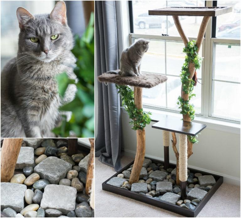Как сделать когтеточку для кошки - обмотайте ветки искусственными лозами